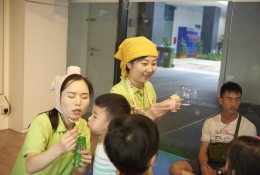 BUBBLES TIME: Blowing bubbles is fun! But, there's more to it than that! During this simple yet effective activity, children instinctively ask questions, learn to share and how to interact appropriately with peers.